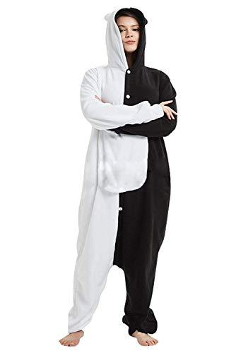 TIMSOPHIE Monokuma Schlafanzug Bär Kostüm Onesie Anime Nachtwäsche Bear Cosplay Pyjama Jumpsuit Strampler Gr. Medium, weiß/schwarz
