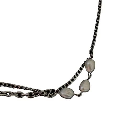 N/A Collar Moda Ins Collar De Cadena De Doble Capa Collar De Tres Temperamentos Cadena De Clavícula Retro Femenina Regalo Parejas Y Amigos