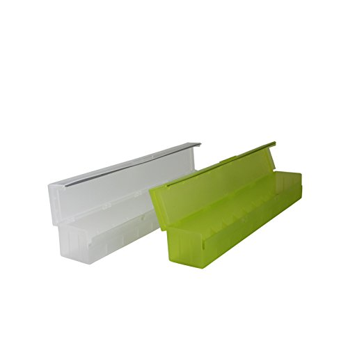 2er-Set Folienhalter bestehend aus zwei Küchen-Rollenhalter Folienschneider Folien Abroller Alufolie Backpapier Box in Weiß/Transparent und Pistazien-Grün