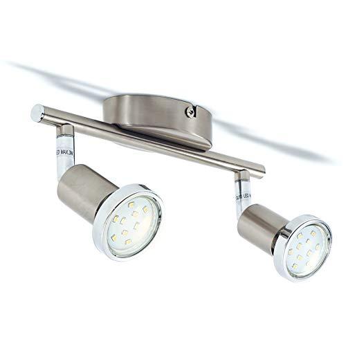 B.K.Licht LED Deckenleuchte Schwenkbar Inkl. 2 x 3W 250lm Leuchtmittel GU10 LED Deckenlampe warmweiß matt nickel