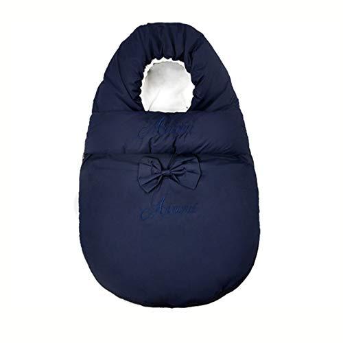MH-RING Saco de Dormir Bebe Recien Nacido Invierno, Saco Dormir Bebe 0-12 Meses Algodón Transpirable Suave y cálido Anti-Choque Forrado Saquito de Dormir (Color : Blue, Size : 90CM)