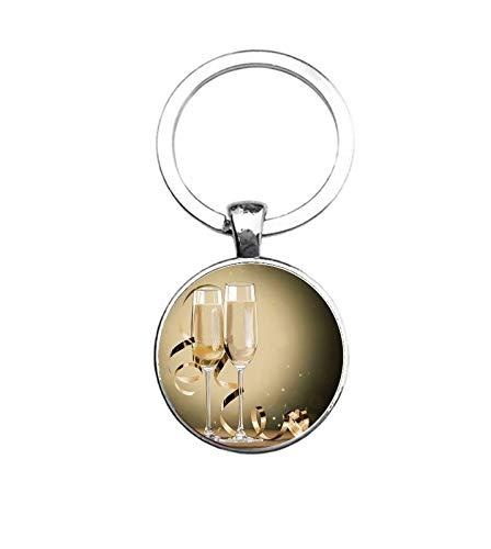 Sleutelhanger Glas - Champagne