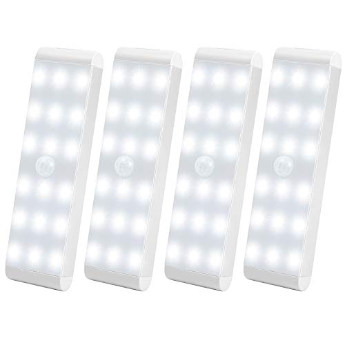 LED Closet Light,18-LED Dimmer USB Rechargeable Motion Sensor Closet Light Under Cabinet Wireless Stick-Anywhere Night Light Bar with 600mAh Battery for Stairs,Wardrobe,Kitchen,Hallway