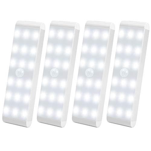 Racokky Luces de Noche LED, Pack de 4 Luces 18 LEDs con Sensor de Movimiento,Lámpara Nocturna USB Recargable,Luz inalambrica cálida para Escaleras, Guardarropa, Porche, Armario, Cocina, Dormitorio