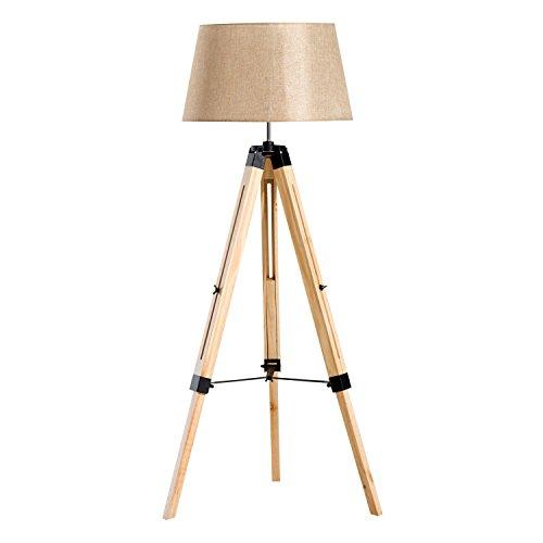 HOMCOM Stehlampe Stehleuchte Standleuchte höhenverstellbar E27, Kiefer+Polyester, 65x65x99-143cm (Beige)