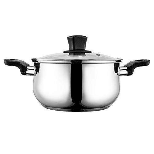 304 Roestvrij stalen voorraadpot, antiaanbakpot stoofpot, met gehard glas deksel en hittebestendige handgreep compatibel met inductie