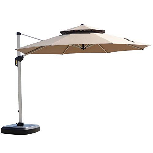 Purple Leaf Beige Outdoor Umbrella Deluxe Top Round