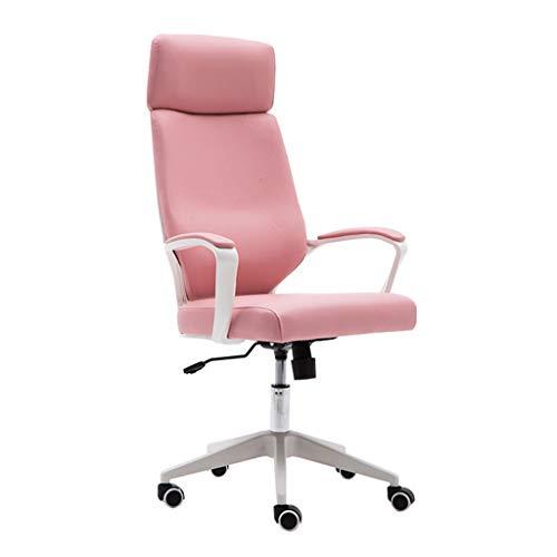 Chaise pivotante de Bureau Ergonomique avec Dossier Haut de 62 cm et Pieds en Nylon. Chaise de Bureau en Cuir PU pour Salle d'étude, Rose