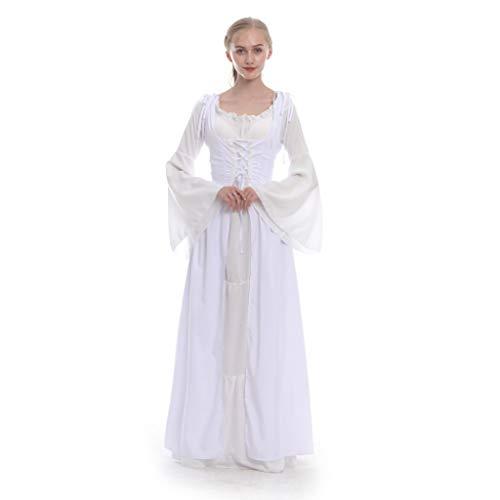NHNKB Vestido de tirolesa largo para mujer, 2 piezas, incluye corsé y vestidos, Halloween, Oktoberfest Maid Dress Renaissance Lolita Dress Disfraz Cosplay para mujeres y niñas