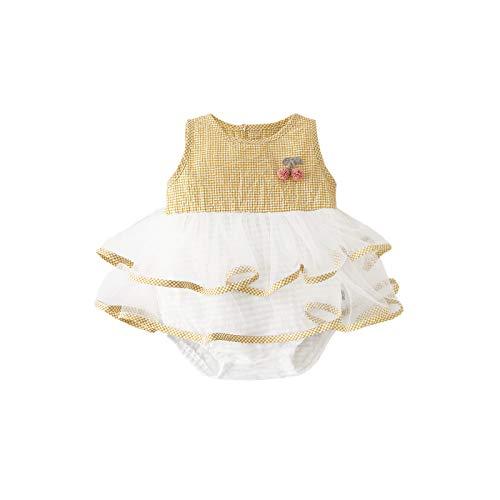 ベビー服カステラスカートチュールボディスーツ夏 ノースリーブ女の子ロンパース カバーオール出産祝いプレゼントイエロー90㎝