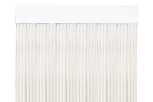 MercuryTextil P69 Türvorhang PVC 210 x 90 cm weiß + transparenter Draht, Kunststoff