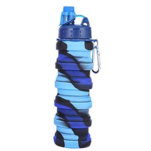 LjzlSxMF Botella de Agua Plegable Botella de Silicona Plegable Botella Deportiva portátil a Prueba de Fugas Botella de Agua Plegable para el Recorrido Camping 500ml