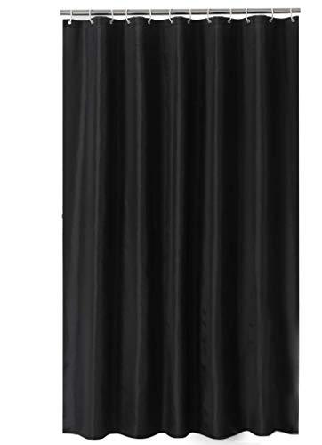 Sfoothome Polyester Duschvorhang, ndiger waschbarer Bad-Vorhang für Badezimmer mit Antirost-Ösen, Plastikvorhang-Ringen und schwerem Saum, schwarz, 90 x 180cm