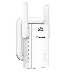 Wodgreat Repetidor WiFi Amplificador Señal WiFi Extensor de WiFi 300Mbps 2.4 GHz WiFi Amplificadores Booster Extender (2 x Antena Externa, 2 Puertos Ethernet, Compatibilidad Universal, Enchufe EU)