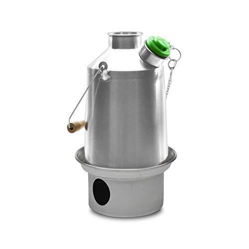 Campo base' Kelly Kettle ® 1.5ltr (acero inoxidable) - Camping hervidor de agua y estufa de campamento en uno. Ultra rápido ligero Cosina integral alimentado. SIN baterías, sin Gas, combustibl