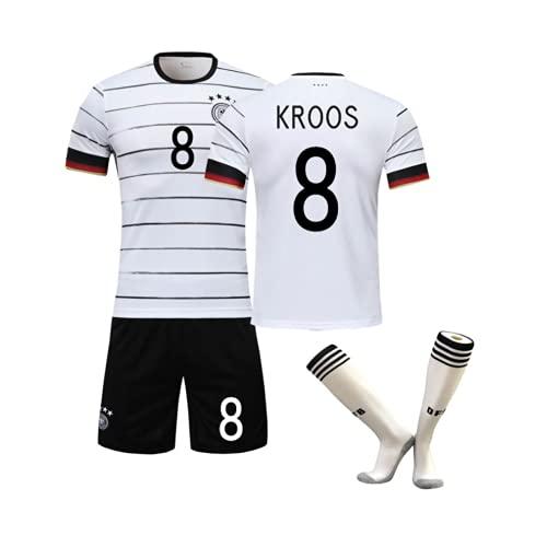 WYIILIN Fußball T-Shirt, Kinder 2021 Deutschland Heimstadion Nr. 8 K.R.O.O.S Trikot Anzug mit Socken Männer und Frauen Erwachsene weißes Fußballtrikot 26