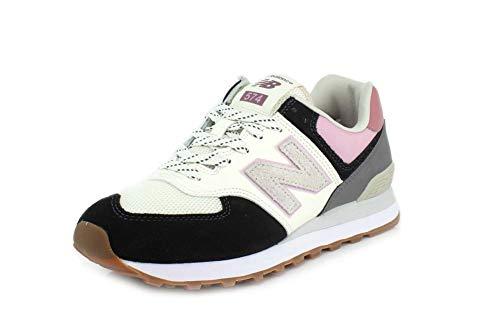 New Balance 738091-60 574 Damen Sneaker aus Veloursleder Textilinnenausstattung, Groesse 37, schwarz/weiß