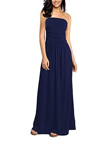GHYUGR Mujer Casual Vestidos Largo de Playa Verano Fiesta Tubo Top Boho Floral Vestido Vacaciones con Bolsillo,Azul Marino,XXL