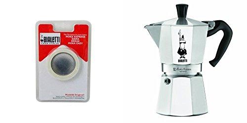 Bialetti 1161 Moka Express, Caffettiera italiana in alluminio, alluminio, acciaio inox, 9 Cup with Gasket Pack
