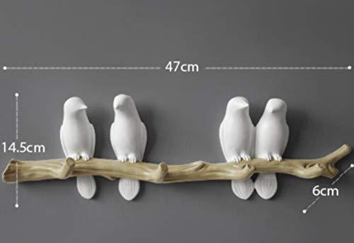 WUSYO Landschaft Einfache Europäischen Stil 3D Vogel Design Tasche Kleiderhaken Einzelwand Aufhänger Wandhaken Schlüsselhalter Home, weiß Vier vögel