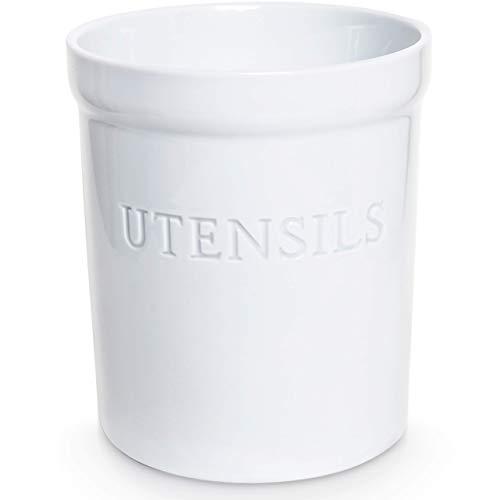 PriorityChef Kitchen Utensil Holder for Countertop Heavy Ceramic Utensils Caddy Large Spatula Organizer Utensil Crock  White