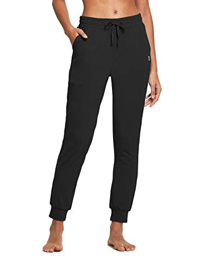 BALEAF Women's Cotton Sweatpants Lightweight Joggers Pants Tapered Active Yoga Lounge Casual Pants with Pockets Black Size M