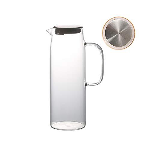 liangzishop Jarra de Agua Cristal Tetera de Vidrio de Vidrio de 1500 ml con Tapa de bambú de Mango El Agujero de Olecranon no gotea Colgando con un Gancho no ocupa Espacio Jarras de Vidrio