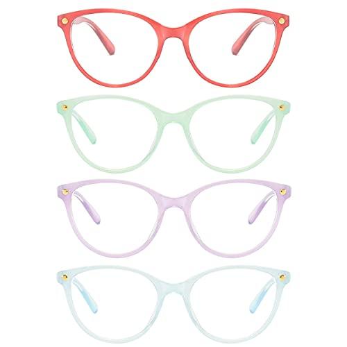 LGQ Paquete de 4 nuevos anteojos de Lectura para Mujer, cómodos y Sencillos, Montura Redonda de Alta definición, anteojos de Moda para Anciano, dioptrías de +1,00 a +3,00,Mixing,+1.50