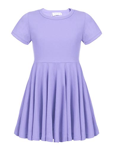 Arshiner Girls Dress Short Sleeve A Line Swing Skater Twirl Summer Dress Lilac