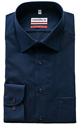 Marvelis Hemd, Modern Fit, Langarm 64cm, Bügelfrei, Dunkelblau, New Kent Kragen, 100% Baumwolle (40)