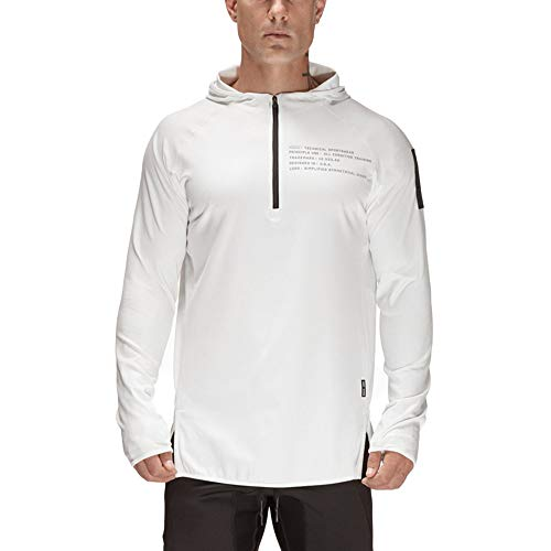 UJUNAOR Männer Herbst Winter Raglan Langarm Hoodie Sweatshirt Lässige Sport Top Bluse(Weiß,CN M)