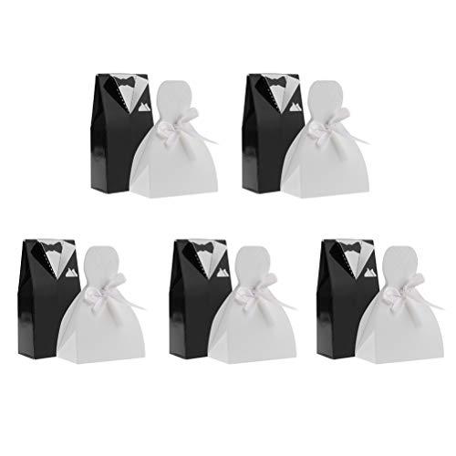 LIOOBO 50 szt. torba na cukierki pudełko na prezent dla panny młodej i pana młodego sukienka w kształcie europejskiego stroju ślubnego styl na przyjęcie weselne biały czarny