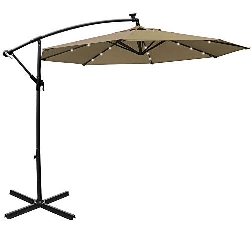 Mefo garden 10ft Solar Patio Outdoor Umbrella Offset Cantilever Hanging Umbrella 360 Degree Rotation with 24 LED Lights and Heavy Duty Steel Cross Base (Top)