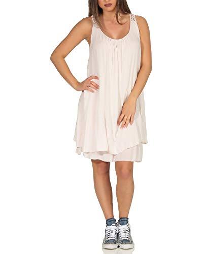 ZARMEXX Damen Sommerkleid Strandkleid mit Spitze ärmellos Tunika unifarben Freizeit Basic rosa One Size (38-42)