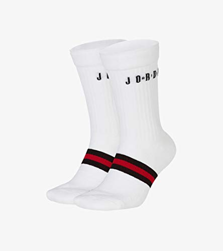 NIKE U J Legacy Crew 2Pr Socks, Hombre, White/Gym Red/Black, XL