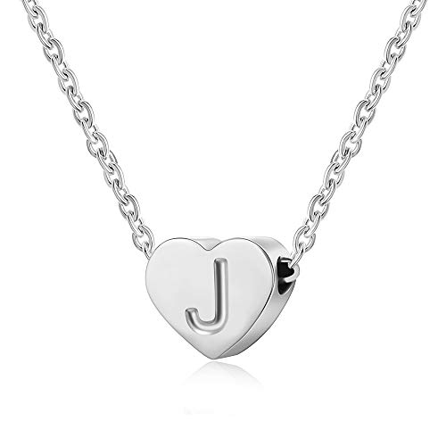 AFSTALR Heart Letter Initial Necklace for Women - Silver Girls Charm Pendant Personalized Kids Child Jewellry Gifts, Silver Letter J Necklace