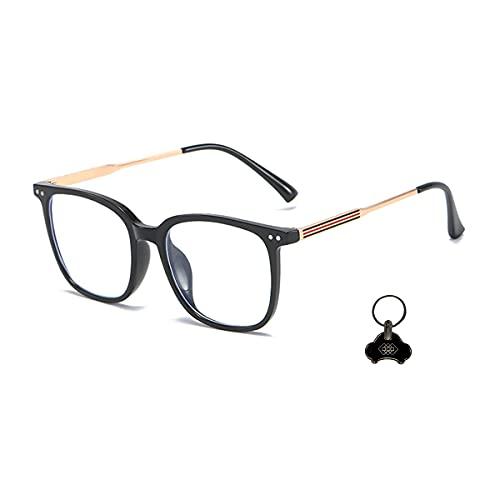 LGQ Gafas con Lentes Transparentes, Gafas Que bloquean la luz Azul para Combatir el Dolor de Cabeza y los Ojos, Accesorios de Moda, Unisex para Mujeres y Hombres,Bright Black Frame