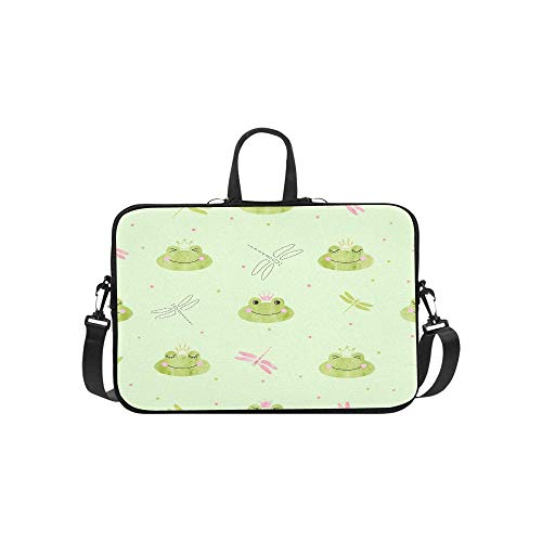 Find Bargain Eamless Pattern with Cute Frogs and Dragonflies Pattern Briefcase Laptop Bag Messenger ...