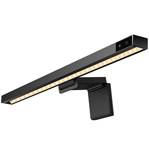 Computer Monitor Lampe, YOUSAMS LED E-Reading Schreibtischlampe Touch Dimmbar, Einstellbare Helligkeit und Farbtemperatur, USB Anschluss Bildschirm Lampe für Schreibtisch Büro Zuhause - Schwarz