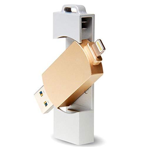 WNTHBJ Teléfono móvil del Disco de U, 3 en 1 Unidad Flash USB OTG, lápiz de Memoria girando Unidad de Disco USB, de Metal Personalizado Unidad Flash USB Creativa (2 PCS),64gb