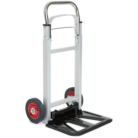 Folding Aluminium Industrial Hand Trolley - With Anti Puncture Tyres and 100KG Load Capacity (White) - 5 Year Warranty