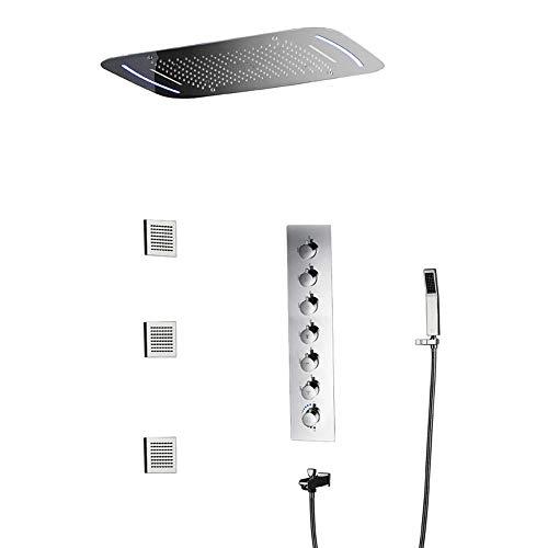 SHENLIJUAN Plata LED 71 * 43cm del pabellón Ducha de la Tapa Sistema de Ducha termostática de Cobre Grifo de la Ducha 7 Modos