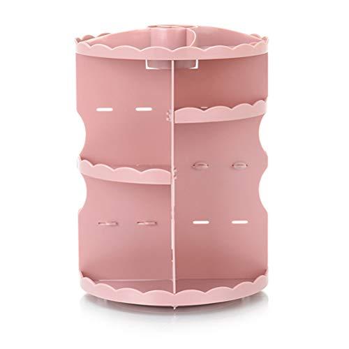 Organisateur de maquillage rotatif, Organisateur de maquillage 360 rotations, Support de caisse ajustable pour comptoir de vanité, Chambre, Salle de bain,Rose