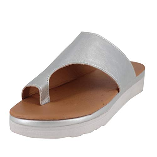 Sandalias Mujer Verano 2019 SHOBDW Sandalias Correctoras Juanetes Oferta Moda Pisos Cuñas Zapatos De Playa con Punta Abierta Tobillo Zapatillas Sandalias Romanas Mujer Tallas Grandes(Plata,EU36-37)