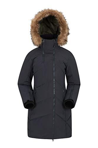 Mountain Warehouse Snowglobe Gefütterte Damen-Jacke - Gesteppt, Lange Länge, abnehmbares Fell, wasserdichte Regenjacke, isoliert, weicher Winterjacke - Camping Schwarz 48