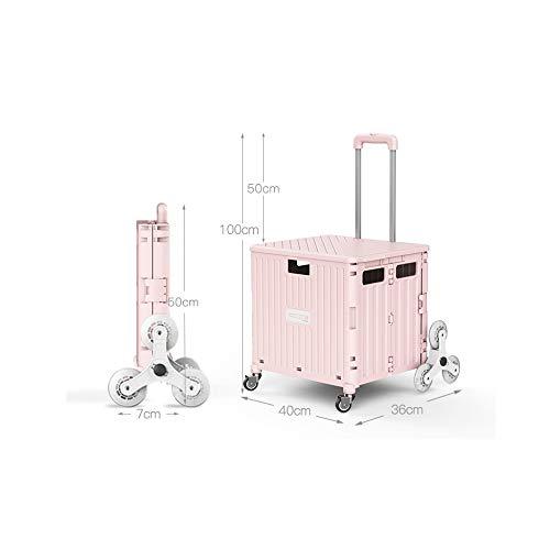 TROLLEY Wagen Palou Auto Einkaufswagen-Faltanhänger,Mit Deckel Praktisch Scrollen Pull Wagen. Transport/pink