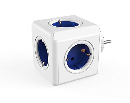 Dr. Bott Regleta Multi-Cubo Original, Adaptador de Viaje con 5 enchufes no superpuestos y ladrón de Escritorio sin Cable, Estilo Schuko de 230 V, Azul/Blanco