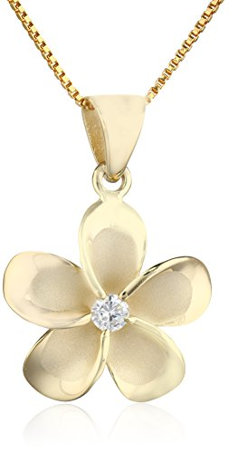 Honolulu Jewelry Company 14k Yellow Gold Plated Sterling Silver CZ Plumeria Pendant Necklace with 18