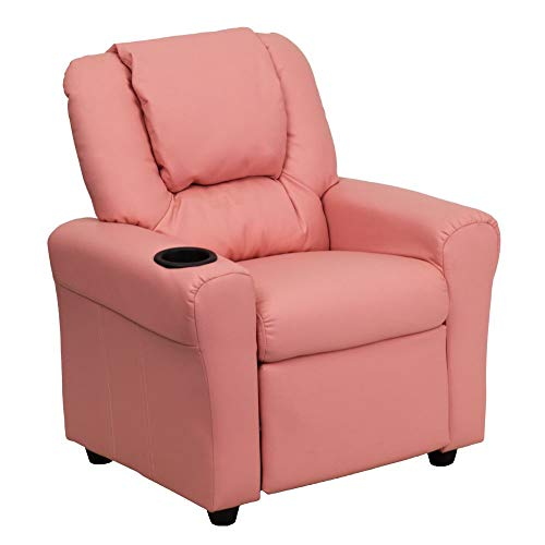 Flash Furniture Contemporary Pink Vinyl Kids Recliner with Cup Holder and Headrest, DG-ULT-KID-PINK-GG