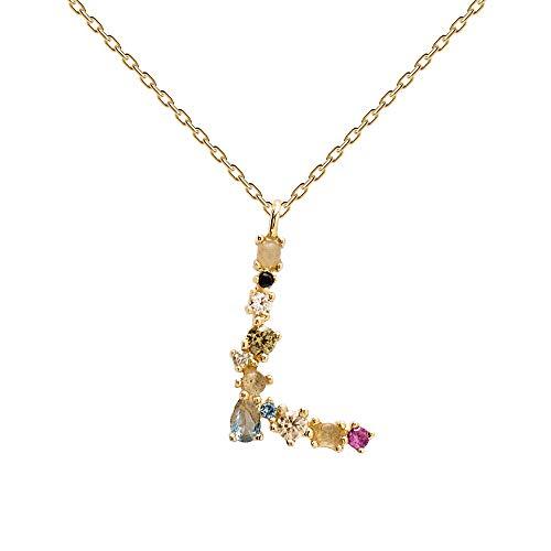 PDPAOLA - Collar Letra L - Plata de Ley 925 Bañada en Oro de 18k - Joyas para Mujer